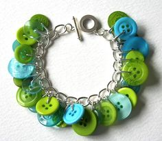 turquoise and lime: button charm bracelet