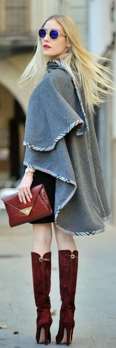 fashion-clue: swede burgundy boots and clutch