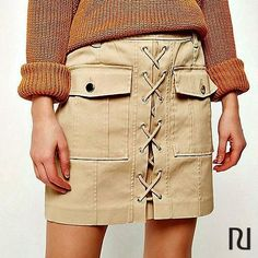 Beige lace-up utility mini skirt - mini skirts - skirts - women Lace Up Skirt, Tube Skirt, Under Armour Sport, Under Armour Men, Look Cool, Cool Style, Dress To Impress, Spring Outfits, Nice Dresses