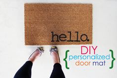 DIY door mats are a great way to add some personality to the front of your home. This tutorial will show you the steps needed to create a charming entry! Easy Projects, Home Projects, Project Ideas, Ikea, Personalized Door Mats, Welcome Mats, Curb Appeal, Decoration, Diy Home Decor