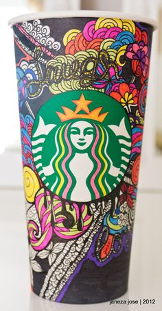 Starbucks Art by on deviantART Starbucks Tumbler, Starbucks Coffee Cups, Coffee Cup Art, Coffee Love, Iced Coffee, Starbucks Cup Drawing, Starbucks Cup Design, Starbucks Art, Starbucks Tassen