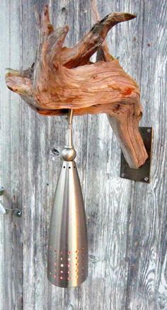 Driftwood Light  $175.00 *Change light fixture*  MAYBE MASON JAR