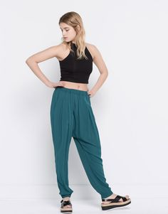 ELASTIC WAIST TROUSERS - TROUSERS - WOMAN - PULL&BEAR Malaysia