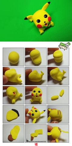 Step by step - sculpted Pikachu (Pokemon) Polymer Clay Charms, Polymer Clay Projects, Polymer Clay Creations, Diy Clay, Clay Crafts, Bolo Pikachu, Pikachu Cake, Clay Pokemon, Pokemon Craft