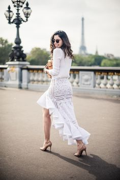 White Ruffles and lace maxi skirt - street style for spring.