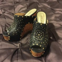 f903e1b03b56 Cathy Jean wedge Cathy Jean black with gold stud decor with cork looking  wedge. 5