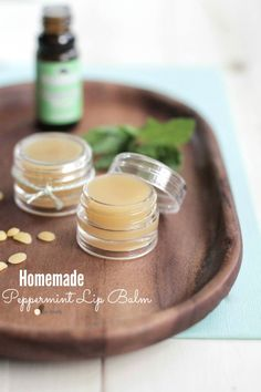 DIY Homemade Peppermint Lip Balm that's soft on the lips and moisturizes. Plus, you can use this lip balm as lotion or headache relief!