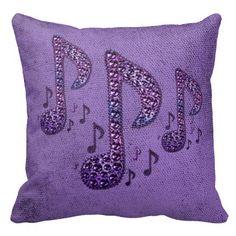 Purple Sparkle Music Notes Throw Pillow