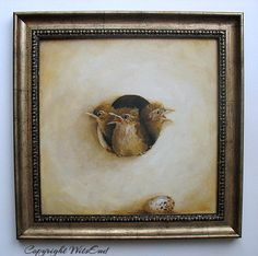 'THE TROUBLESOME THREE'. Carolina Wren Birds painting framed original ooak tromp l'oeil by 4WitsEnd, via Etsy  SOLD