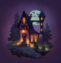 Creepy Houses, Spooky House, Witch House, Halloween House, 3d Fantasy, Fantasy House, Fantasy Landscape, Halloween Illustration, House Illustration