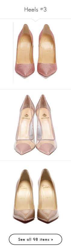 Heels #3 by webuildbridgesnotwalls ❤ liked on Polyvore featuring shoes, pumps, christian louboutin pumps, glitter pumps, glitter shoes, christian louboutin, christian louboutin shoes, heels, sapatos and nude heel pumps