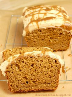 Pumpkin Bread with Salted Caramel Drizzled Pumpkin Buttercream - A Kitchen Addiction