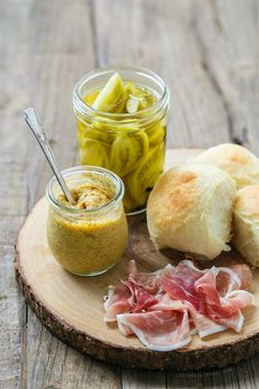 Country Ham and Pickle Sliders, with homemade spicy peach mustard and crisp green tomato pickles.