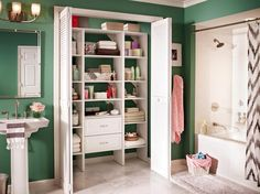 The overall bathroom may be small, but the closet holds so much that you will want to show it off. The shelving is built to fit and can be adjusted, so it can fit in a variety of spaces, both large and small. Courtesy of Closetmaid