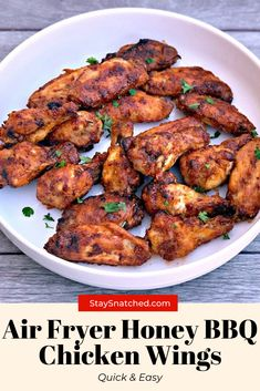 These Easy Honey BBQ Chicken Wings are a quick recipe for crispy and crunchy wings made in the oven. If you are a fan of KFC, Buffalo Wild Wings, Applebees then you will love these! Bbq Fried Chicken, Honey Bbq Chicken Wings, Best Chicken Wing Recipe, Chicken Wing Recipes, Buffalo Wild, Air Frier Recipes, Air Fryer Dinner Recipes, Eggplant Recipes, Pressure Cooker Recipes