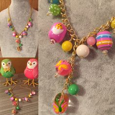 Happy Easter! This adorable necklace has all the chicks and eggs you need! The fun glass beads include eggs painted with hatching chicks and colorful stripes, as well as solid and polka-dotted round beads.