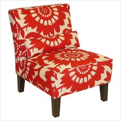 This Slipper chair looks something like mine, same color, but without the birds. Perfect for a smaller living room space :)