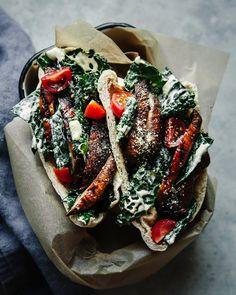 Miso Grilled Portobello & Kale Caesar Pitas Marinated Mushrooms, Stuffed Mushrooms, Healthy Food Blogs, Healthy Recipes, Healthy Eats, Clean Recipes, Grilled Portobello, Whole Wheat Pita, Grilling Recipes