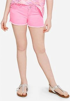 Justice Girls Color Denim Short Shorts Electric Pink Poly