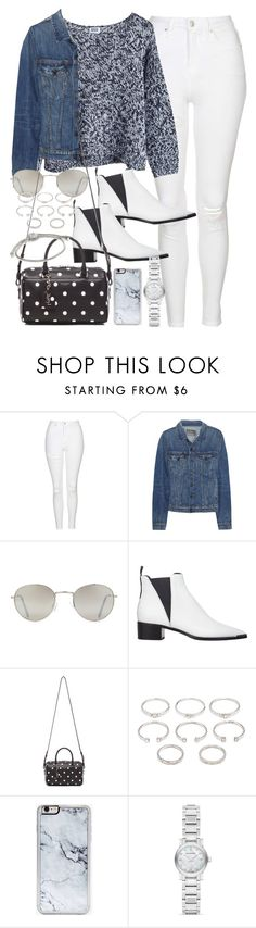 """""""Outfit for winter with white jeans"""" by ferned ❤ liked on Polyvore featuring Topshop, MTWTFSS Weekday, Proenza Schouler, Forever 21, Acne Studios, Yves Saint Laurent, Zero Gravity, Burberry and John Hardy"""