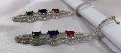 Chandelier Earring 925 Silver 3 Gemstone for Women Beautiful Gift Genuine Silver
