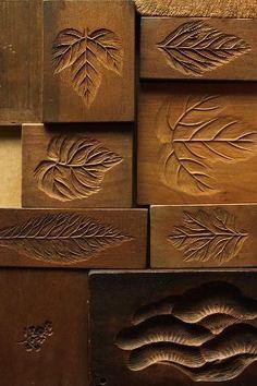 Kashikigata (菓子木型) ~ traditional wooden tools for making Japanese dry sweets called Higashi.