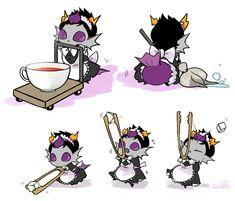 ((Little Maid! Grub! Eridan is so cute! He reminds me of Chibitalia.))