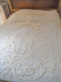 Antique Cherubs French Lace Coverlet