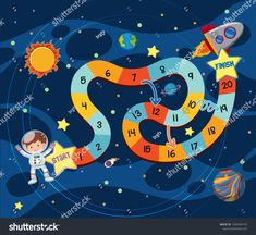 Board Game Template, Printable Board Games, Space Party, Space Theme, Games For Kids, Activities For Kids, Playground Painting, Space Classroom, Game Development Company