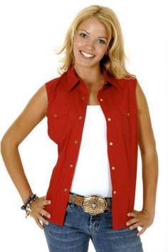 1307dafca9 Women s Sleeveless Roper Red Solid Poplin Western Model Variegated Snap  Solid Poplin Snap Collection