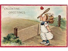 Vintage Valentine Postcards and Illustrations for Collectors: Tennis Valentine Valentine Images, Vintage Valentine Cards, Valentine Day Love, Valentines For Kids, Vintage Cards, Vintage Postcards, Vintage Images, Victorian Valentines, Valentines Greetings