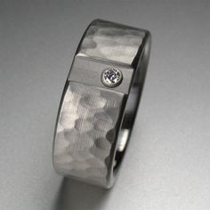Hammered Offset Diamond Ring