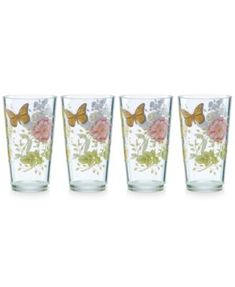 Lenox Butterfly Meadow Collection Acrylic Highball Glasses, Set of 4 | macys.com