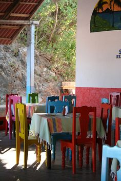 Maybe chairs painted all different bright colors on the lanai--