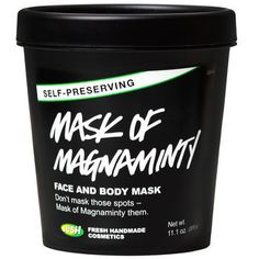 Mask of Magnaminty Face and Body Mask - Self-preserving: This deep-cleansing face and body mask is made with China clay and fresh peppermint to reach deep down and pull dirt from your pores, giving you that delightful tingly-clean sensation. This formula has been expertly rebalanced, so there's no need for us to add any synthetic preservatives – it's completely self-preserving!