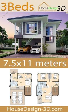 House Design with 3 bedrooms - Tiny House Design Bungalow House Design, Tiny House Design, Minimalist House Design, Minimalist Home, Bali, 2 Storey House, 3 Bedroom House, House Layouts, Dream Rooms