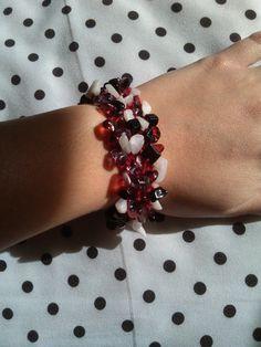 Multi-color Red Beaded Hand-Knit Bracelet