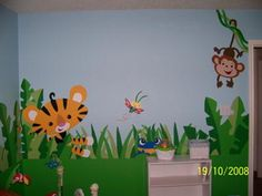 Rainforest Nursery Design- Jungle Nursery Wall Mural with Monkeys, Tigers and Tropical Scenery