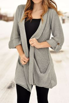 Gray oversized cardigan.