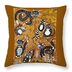 Seven Black and White Cats Throw Pillow  http://fineartamerica.com/products/seven-black-and-white-cats-sarah-..  #throwpillows #sarahloft #cats #painting #makebelieve