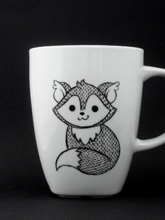 fox mug in black and white, fox, fox mug, fox cup, personalized mug, woodland mug, christmas gift par vitaminaeu sur Etsy https://www.etsy.com/fr/listing/166853094/fox-mug-in-black-and-white-fox-fox-mug
