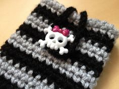 Black & Grey Girlie Goth/Pirate Mobile Case with Skull Button fastening (will fit iphone4 or similar sized phone) on Etsy, £6.00