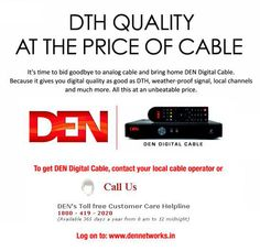 DEN Networks provide large number of channels to fulfill your choices of sports, movie, news and local shows. Digital Cable Tv, Tv Services, Den, Choices, Behance, Entertainment, India, Movie, Film