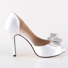 77.19$  Watch here - http://aligxn.worldwells.pw/go.php?t=32432319183 - Handmade white D'orsay bow heel rhinestone diamond crystal wedding party prom pumps bridal banquet evening shoes small big size