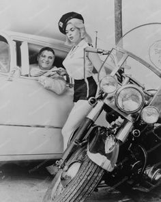 Jayne Mansfield Posed as Motorcycle Cop 8x10 Reprint Of Old Photo