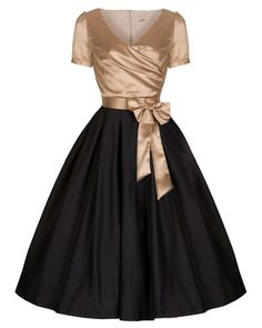 d8d23aab Gina Gold Black Tea Party Dress | Vintage Inspired Fashion | Lindy Bop  Robes Vintage,