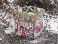 Купить Большой короб для игрушек из зимней коллекции - зеленый, короб, короб для хранения, короб для игрушек