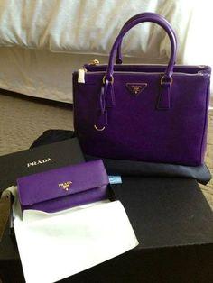 Prada purple purse with purple wallet