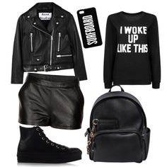 noir by misheel-hollywood on Polyvore featuring polyvore fashion style Acne Studios Converse Dsquared2