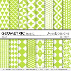 Pear GEOMETRIC  BASIC Digital Paper Pack  Digital by JAnnBdesigns
